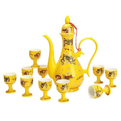 DONGYAO Juego de sake, 1 bote de 10 tazas de cerámica antiguo juego de vino, jarra separador de vino amarillo, conjunto de vino de dragón amarillo, conjunto de vino chino tradicional palacio hogar