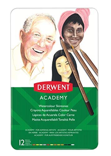 Derwent Academy Aquarellstifte in Hautfarben 12 Stück in Metallschachtel