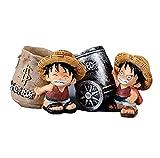 2 unids / Set 10 cm Lindo Anime una Pieza Luffy Resina Oficina portalápices coleccionables Mono D Luffy Escritorio lápiz portalápices niños Figura de acción Juguetes