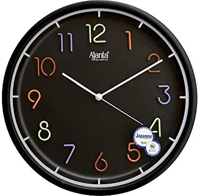 Ajanta Designer Round Wall Clock Silent Non Ticking Battery Operated for Kitchen Home Office Clock with Large Numbers (32.6 x 32.6 x 5.2 cm, Quartz, Black)