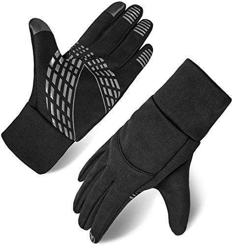 Herren Touchscreen Handschuhe Winterhandschuhe Anti-Rutsch Outdoor Sport Handschuhe (Schwarz, XL)