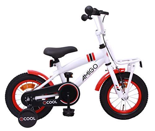 AMIGO 2Cool - Kinderfahrrad - 12 Zoll - Jungen - mit Rücktritt und Stützräder - ab 3 Jahre - Weiß