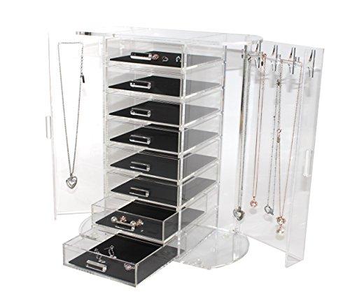 Schmuckkasten Acryl - Schmuckaufbewahrung - 8 Fächer und Seitentüren mit Kettenhaken