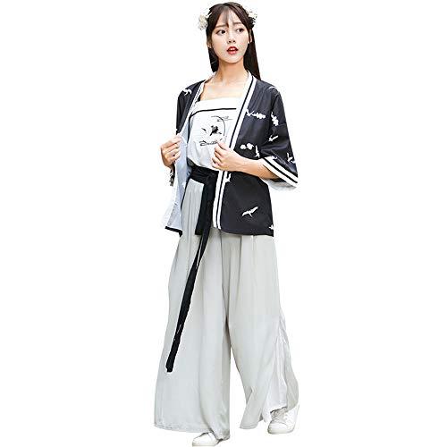 YCWY Damenmode chinesischen Kostüm, Vintage Chinese Dress Bestickt Tang Anzug für Mädchen Foto-Shooting Kleidung Dance Kostüme Flying Crane Printing,L