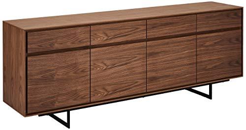 Ibbe Design Nussbaum Sideboard Anrichte MDF Walnuss Furnier Kommode mit 4 Türen und 4 Schubladen Tokyo, Schwarz Metall Gestell, 205x45x82 cm