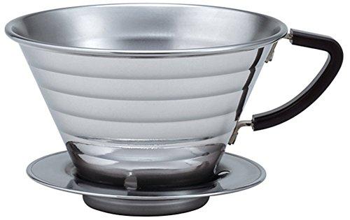 Kalita Steel Pour Dripper 473,6–740 ml Single Size 185 One Cup Patentiertes Wellendesign, tragbare Kaffeemaschine, hergestellt in Japan, größer, polierter Edelstahl