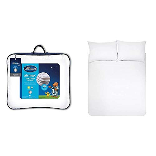 Silentnight Airmax Mattress Topper, Polyester, White, Double & AmazonBasics Microfibre Duvet Cover Set, Double, Bright White