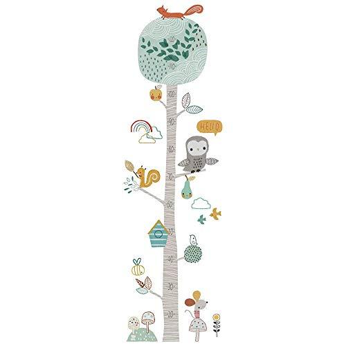 DIY Messlatte Kinderzimmer Wandsticker Wandaufkleber PVC Baum Tiere Wanddeko 120cm Bunt