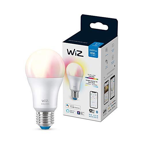 Wiz bombilla Wifi y bluetooth LED regulable colores A60 60w E27, 2200-6500K, 8W (equivale a 60 W), A+