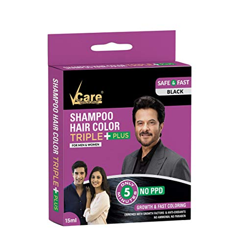 VCare Shampoo Hair Color, Black, 15 ml, (Pack Of 10)