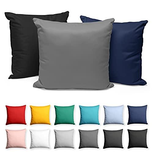 Alreya Juego de 2 fundas de almohada con cremallera, 80 x 80 cm, color antracita, 100% algodón, fundas de almohada muy suaves