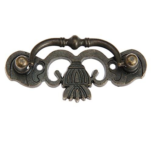 1 UNID HABLA DE MODELA VIEJA Antigua Bronce Pull 80x30mm con tornillo de la perilla china gabinete del cajón joyería del vintage decoración del armario del pecho YUAN CHUANG