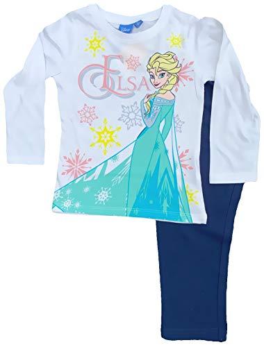 Frozen Die Eiskönigin Anna + ELSA Pyjama Lang Mädchen Schlafanzug Sweatshirt + Hose Kinderpyjama 3 4 5 6 8 Jahre 98 104 110 116 128 cm weisses Oberteil Marine Hose (116)