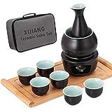 Ceramic Sake Set with Warmer Pot Bamboo Tray, Stovetop Porcelain Hot Saki Cup Set with Travel Gift Box, Set of 10, Black