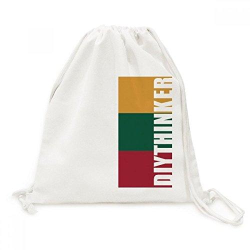 DIYthinker Litouwen Nationale Vlag Europa Land Canvas Trekkoord Rugzak Reizen Shopping Tassen
