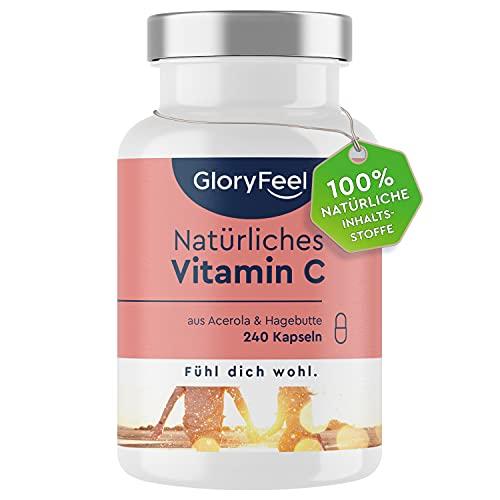 Natürliches Vitamin C - 240 Vegane Kapseln (4 Monate) - Acerola und Hagebutten-Extrakt - 400mg reines Vitamin C in Premium-Qualität - Laborgeprüft ohne Zusätze in Deutschland hergestellt