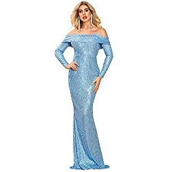 Blue Slash Neck Off Shoulder Long Sleeve Sequin Maxi Dress