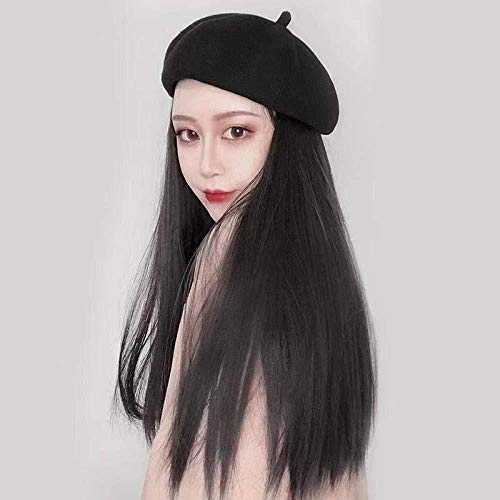 BGHJUE Bailey Hut Perücke eine weibliche Winter lange lockige Haare glattes Haar natürliche Simulation Herbst Haar mit Hut Trend