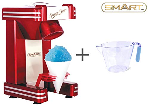 SMART Snow Cone Maker Bundle with Free Measuring Jug - Single Serve Snow Cone Maker Machine - All in One Snow Cone Maker Kit - Great for Slush, Slushee, Slushie and Ice Beverages - Retro Red RSM702