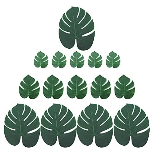 Homoyoyo 100 Piezas de Hojas Artificiales de Palma Tropical Monstera Hoja Verde Falsa para La Decoración de La Mesa de Cocina del Hogar Cumpleaños Decoración de Fiesta