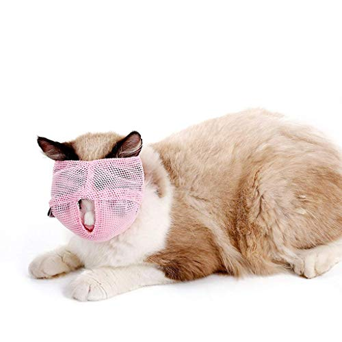 YONFAN Bozal para Gatos, Malla, Respirable, para Gatos, Gatitos, Anti mordida y masticación con Velcro Ajustable