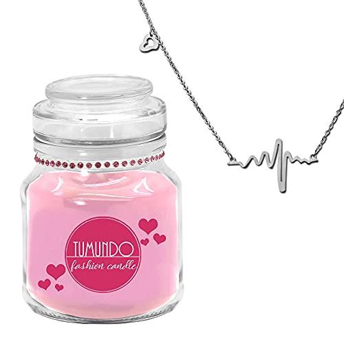 tumundo Fashion Candle Schmuck-Kerze Valentinstag Liebe Muttertag Geburtstag Duftkerze Halskette Herz-Schlag Frequenz, Variante:Silber
