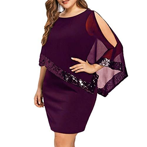 Sporzin Vestido Mujer Mini Vestidos Coctel Cuello Redondo Talla Grande de Fiesta Corta para