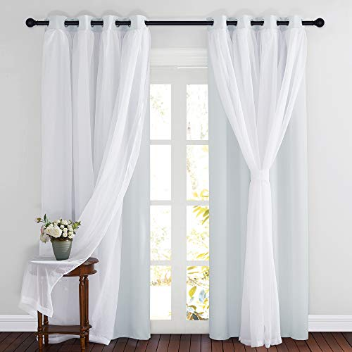 PONY DANCE Window Curtains with Sheer - Blackout Curtains & Draperies Panels for Bedroom/Living/Dining Room, 52 W by 84 L, Greyish White, 2 Pieces