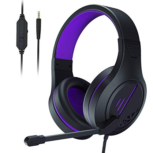 Anivia Stereo Gaming Headset for PS4, PC, Xbox One Controller, Noise Cancelling Over Ear Headphones with Mic, Soft Memory Earmuffs for Laptop/Mac/Nintendo/PS3 Games(Purple)