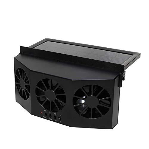 Instag Ventilador de Coche Ventilador Solar para Coche Extractor de Aire de Tres Salidas de Aire del Ventilador Atemperador de Carro y Carro de casa Ventilador de enfriamiento Material de ABS,Black