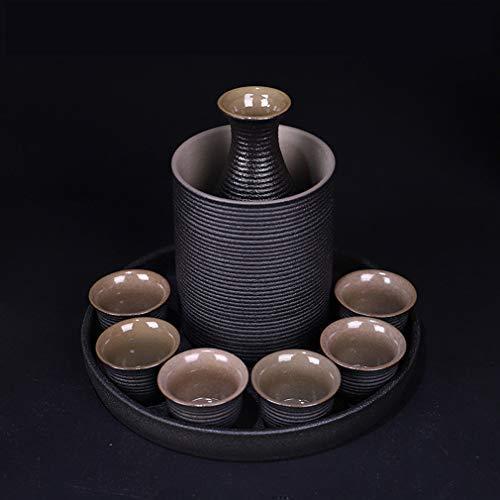 BBGSFDC Teiera, Sake 9 Pezzi Set Tazza di Tazza di Sake Giapponese con Ceramica Nera più Calda for casa (Color : B)