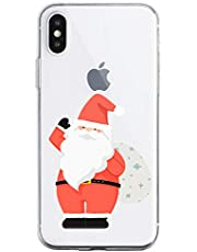 Oihxse Case Compatible con Samsung Galaxy S10E/S10 Lite Funda Transparente Silicona Suave Carcasa Protectora Navidad Santa Deer Diseño de patrón Creativo Ultra Slim Flexible Cover