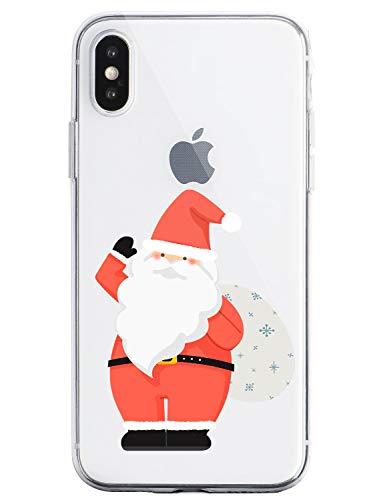 Oihxse Case Compatible Para OnePlus 6, Etui en Silicone Souple Ultra Mince Transparente Crystal Coque Motif de Mignon Noël Christmas Snowflake Protection Housse