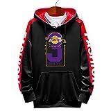 Davis # 3 Lakers - Maglia da basket con cappuccio, per uomo e donna, a maniche lunghe, con cappuccio, taglia XXXL