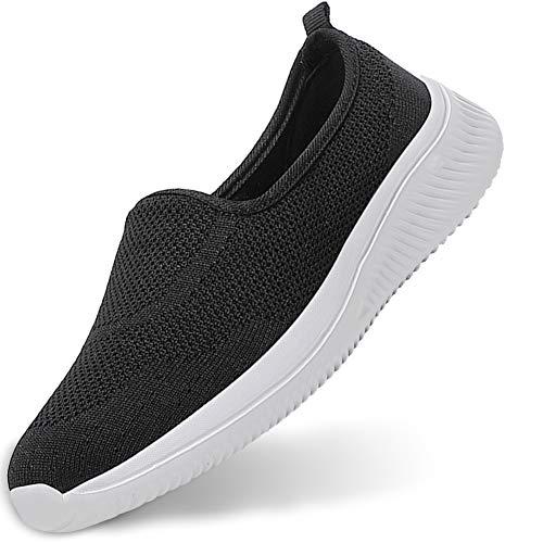 Gaatpot Zapatillas Casual para Mujer Mesh Calzados para Correr en Asfalto Zapatillas de Estar por Casa Calzado Deportivo de Exterior Negro 41.5/42EU