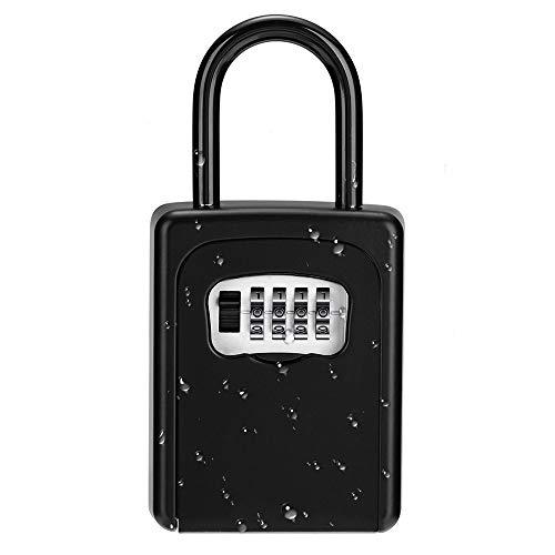 ZHEGE Schlüsselbox, Kombinationsschlüssel Aufbewahrungsbox mit Bügel Aussen, Kleines tragbarer Schlüsseltresor Türknauf außen, Schwarz