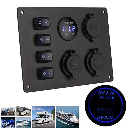 Interruptores basculantes para barcos, panel de interruptores basculantes de 12 V de 4 bandas, panel de interruptores marinos con 4 tornillos para coche, barco, vehículos recreativos para