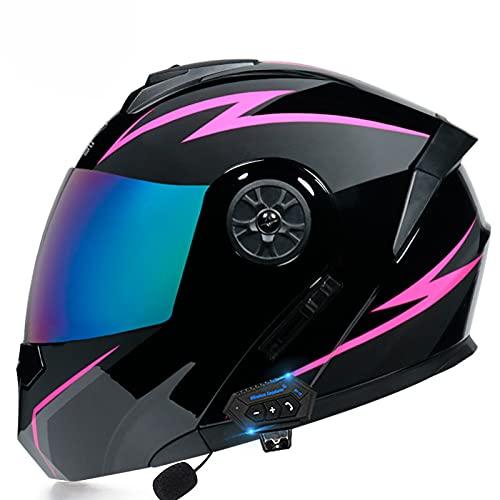 Skyout Casco Moto Plegable Bluetooth Cascos Modulares Moto Cascos Integrales Moto con Visores Duales Antivaho para Hombres y Mujeres Adultos, Aprobado ECE E,M=57~58cm