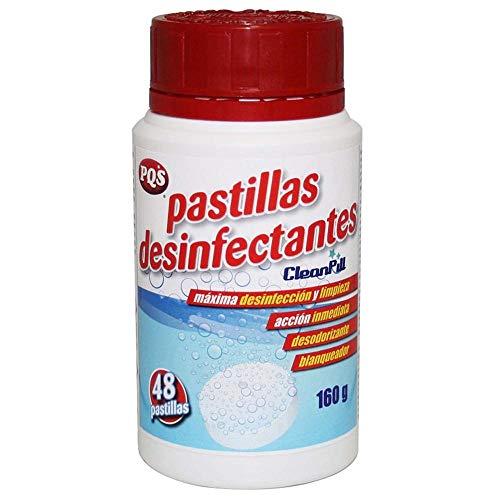 PQS Desinfectante Fungicida Virucida, 48 pastillas Cloradas de disolución instantánea Bote de 160 gr.