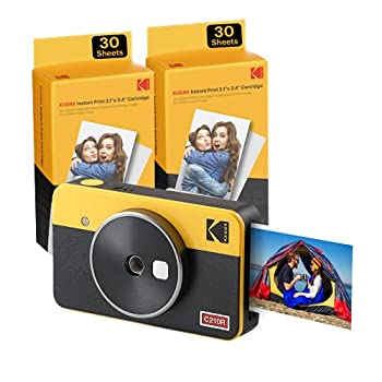 Kodak Mini Shot 2 Retro   68-Sheet Bundle   Portable Wireless Instant Camera & Photo Printer Compatible with iOS & Android and Bluetooth Devices Real Photo  2.1x3.4  4Pass Technology - Yellow