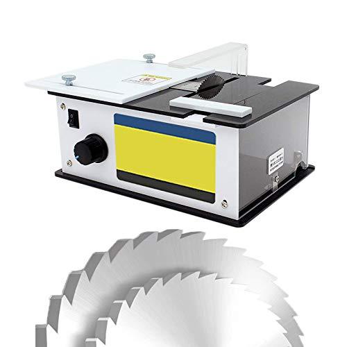Mini sierra de mesa multifunción, sierras circulares eléctricas de 96 W con hoja de sierra, velocidad variable de 9000 rpm, profundidad de corte de 10 mm / 0,39 'para cortar madera en el hogar