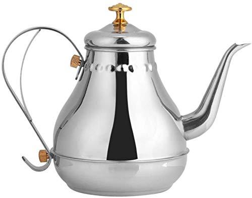 Fdit Bollitore per tè in Acciaio Inox Teiera caffè a Collo di Cigno Bollitore con Filtro per tè 1.2L - Riscaldare con Fuoco/Stufa a induzione