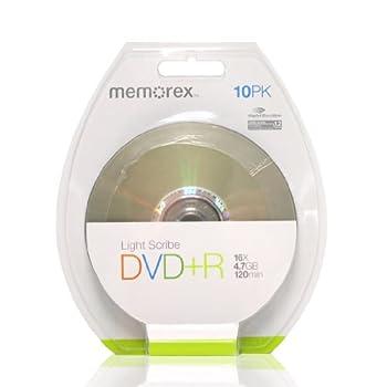 Memorex 120 min  sp /4.7 GB DVD+R 16x Light Scribe  10-Pack
