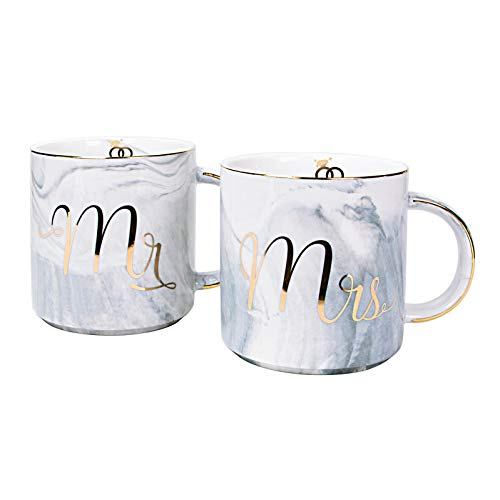 Vilight Unique Wedding And Engagement Gifts For The Couple Mr And Mrs Mugs Bridal Shower And Newlywed Gifts For Bride And Groom Marble Coffee Cups Set Buy Online In India