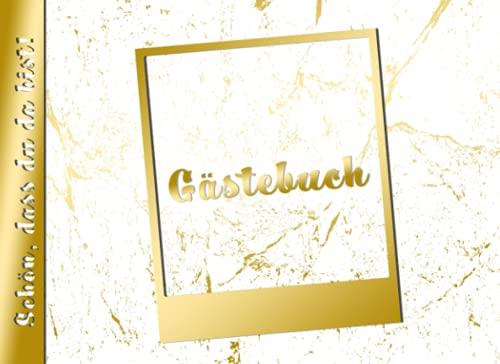Gästebuch Schön, dass du da bist!: edles Fotogästebuch mit Platz für Polaroid-Bilder einer Sofortbild-Kamera | in Gold-look | Hochzeit | Geburtstag | Jubiläum