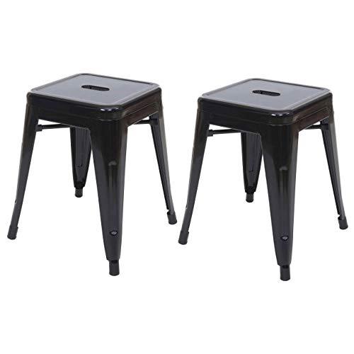 2X Hocker HWC-A73, Metallhocker Sitzhocker, Metall Industriedesign stapelbar - schwarz