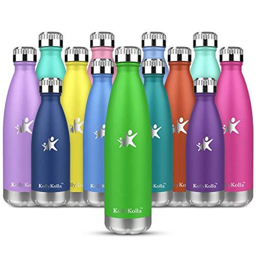 KollyKolla Botella de Agua Acero Inoxidable, Termo Sin BPA Ecológica, Botellas Termica Reutilizable Frascos Térmicos para Niños & Adultos, Deporte, Oficina, Yoga, Ciclismo, (500ml Verde)