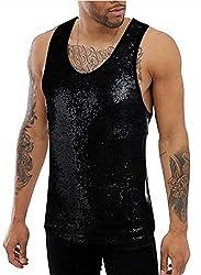 Black #2 Sequins Tank Top Sleeveless Shirt