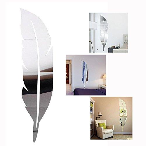 Gearmax® DIY 3D Acrílico Espejo Feather Decorativo Pegatinas de Pared de la Pluma Espejo Mirror Wall Stickers Pared Adhesivo Forma Pluma(Plata)