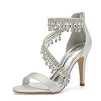 セクシーな女性の結婚式の靴スチレットヒールオープントゥの結婚式のサンダルサテンラインストーンクリスタルパンプスサイズ,Ivory white,40 EU